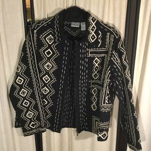 Chico's black jacket with white embroidery Large
